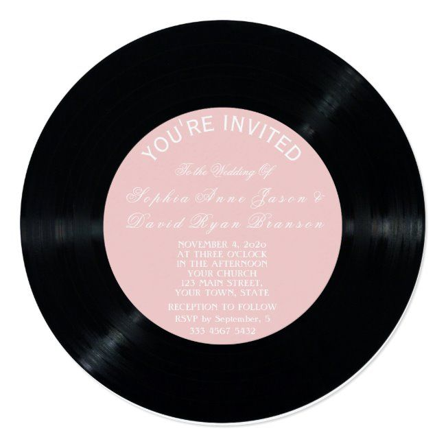 Blush Retro Vinyl Record Wedding Invitation #retro #vinyl #record #wedding #invite