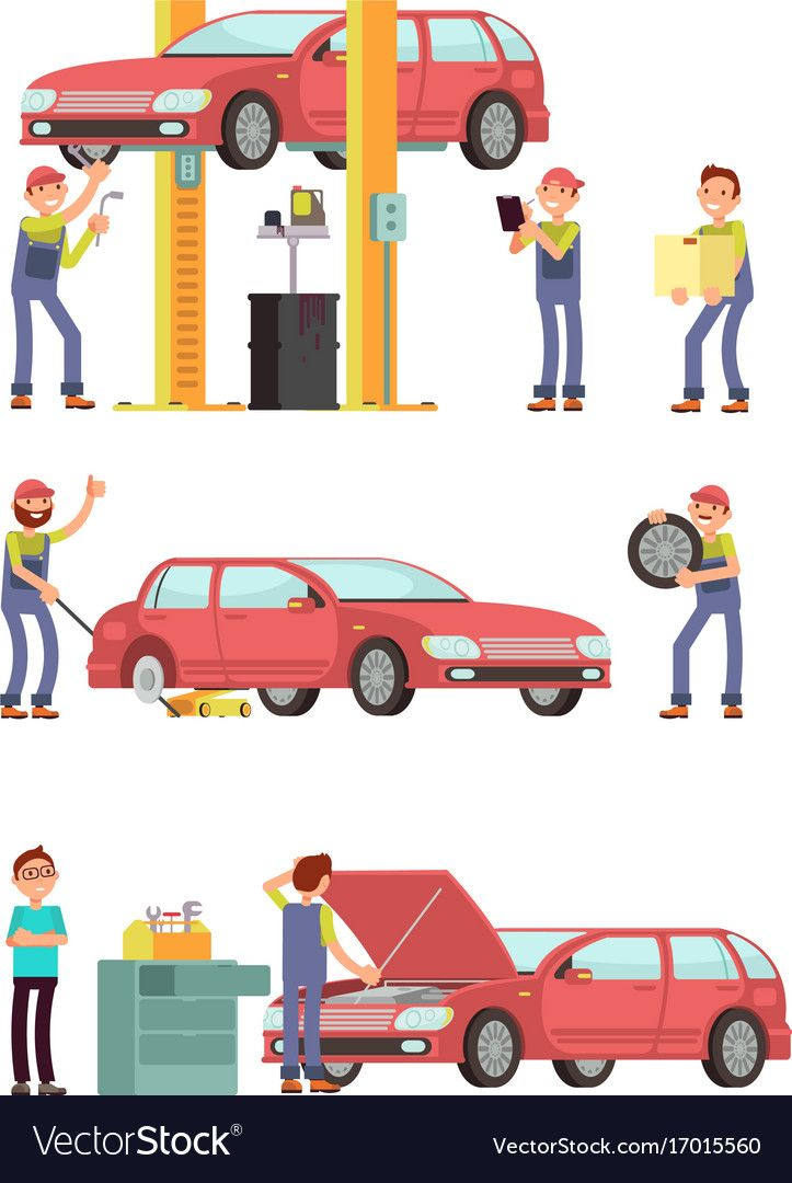 Car repair auto service with mechanic characters vector