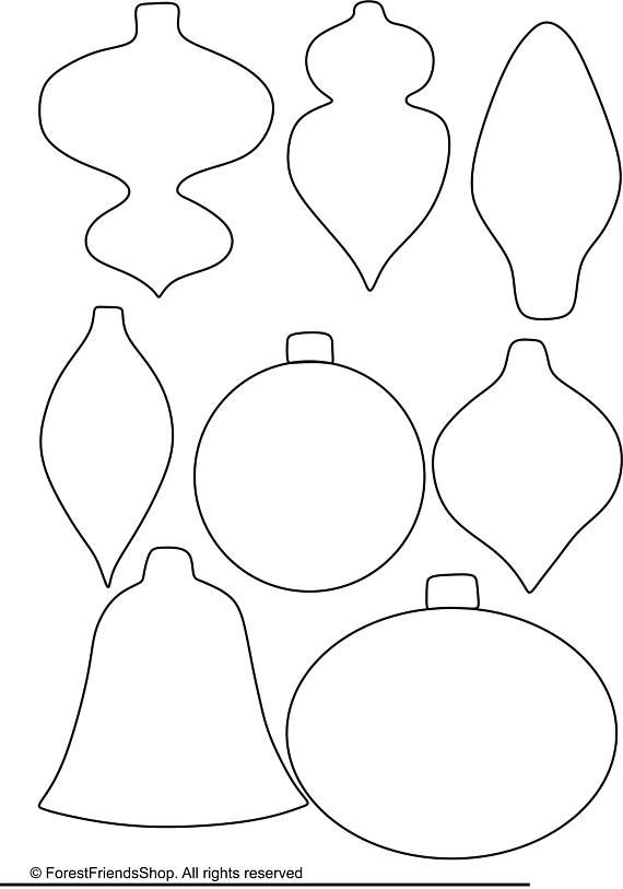 Christmas ornaments templates PDF  Instant Download DIY christmas ornament Easy felt oranment Appliq #flowerfabric