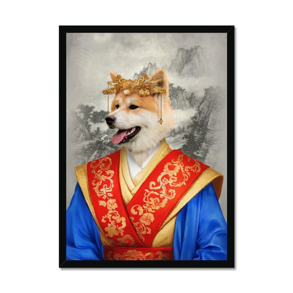 The Asian Empress: Custom Pet Portrait - A3 / Black Frame