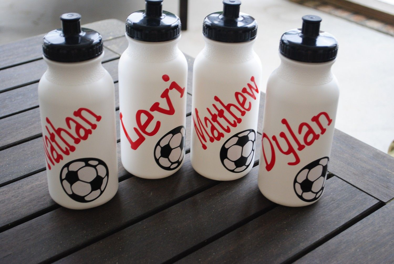 Soccer team personalized plastic water bottle soccer for Unique plastic bottles