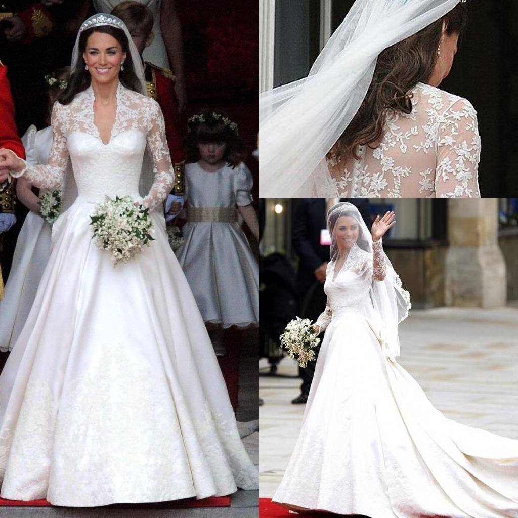 Discount 2014 V Neck Long Sleeves Satin Kate Middleton Wedding