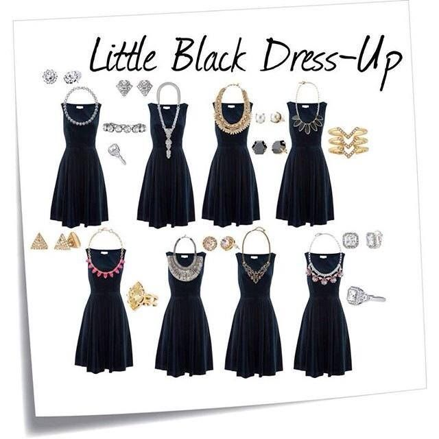 Look At This Little Black Dress With 8 Different Jewel Combinations Pick Your Favorite For Black Dress Accessories Necklace For Neckline Black Dress Outfits