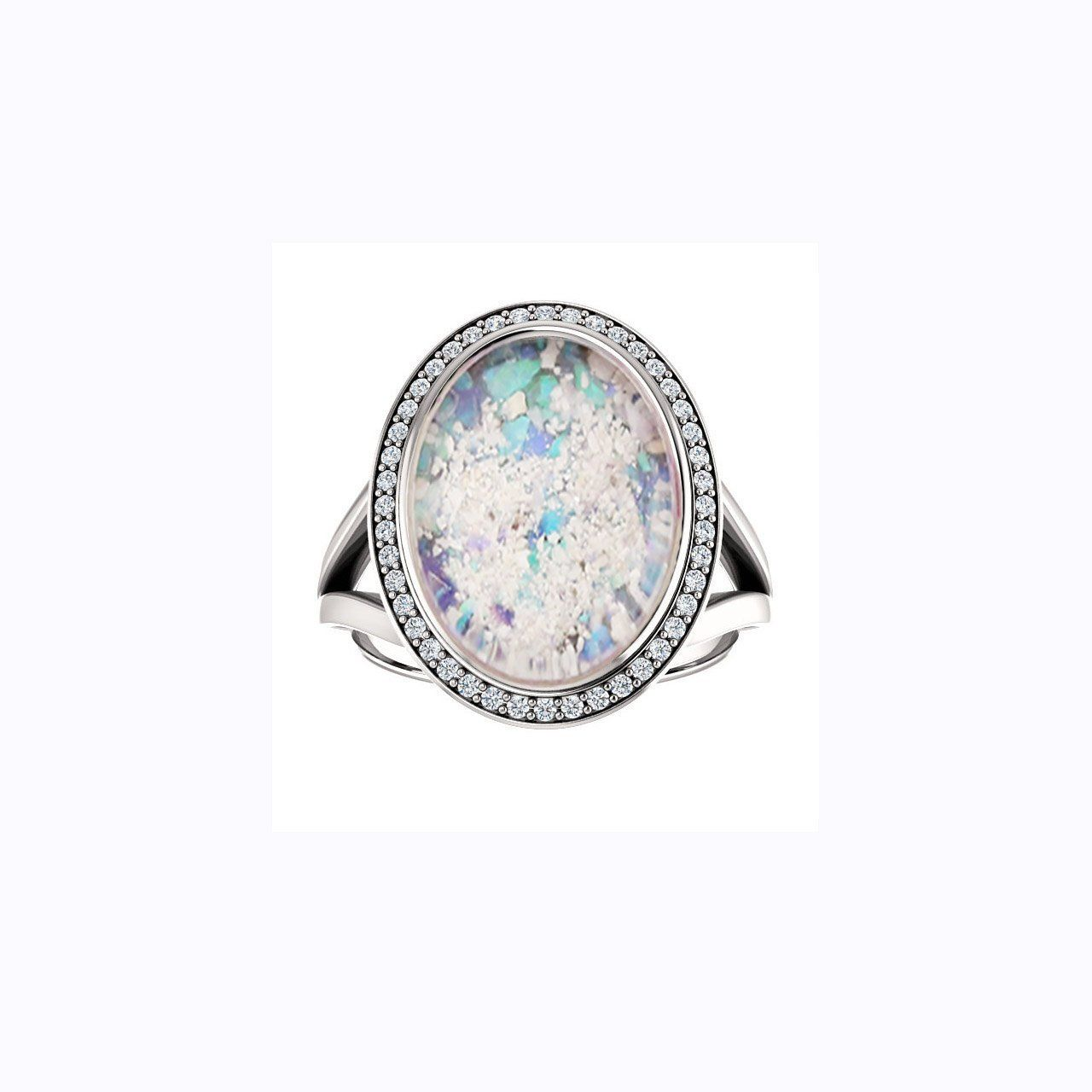 10x14mm Oval Opal Cremation Ring 10k White Gold And Diamond Ring Cremation Jewelry Ash Ring Ash Jewelry Ashes Jewelry Opal Rings Memorial Jewelry Ashes