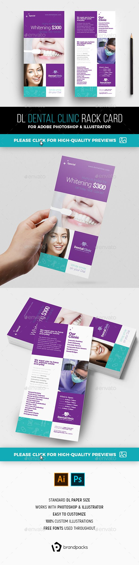 Dental Clinic Rack Card Template  Card Templates Clinic And Template