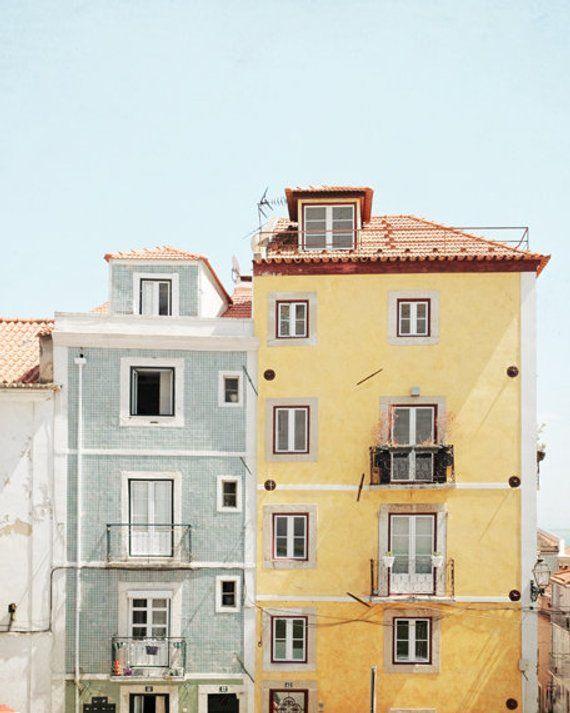 Lisbon Portugal Photograph, Travel Photography Print, Architecture Windows, Pastel Yellow Blue Wall Art, Lisbon Print // Sunny Lisbon