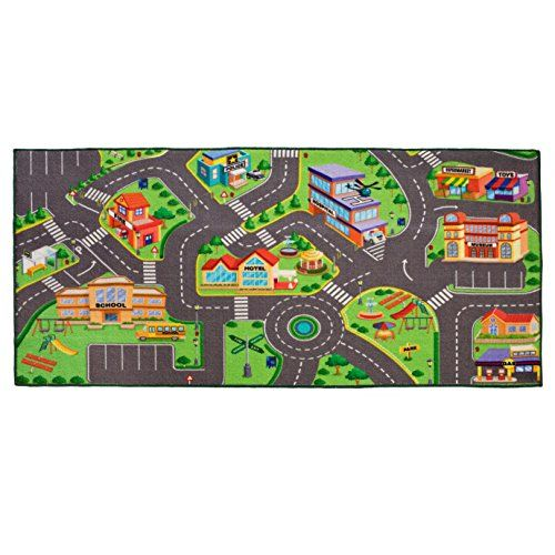 Kids Washable City Playmat Road Rug Traffic Carpet For Matchbox Cars 36 X 72 Inches Made With Anti Slip Bottom Reinforced Edging Rugs Play Rug Carpet Mat