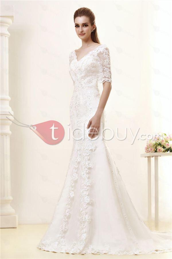 Gorgeous V-Neck Half Sleeves Mermaid Wedding Dress : Tidebuy.com
