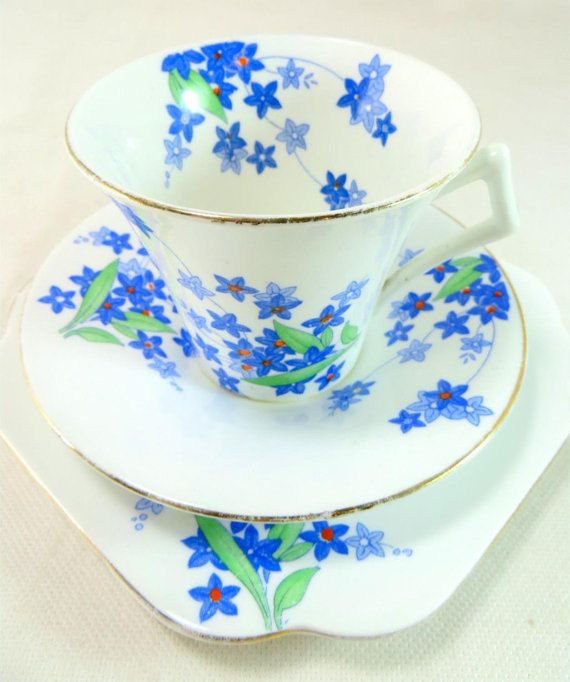 1930's Colclough Art Deco Blue Floral Trio Pretty Hand-painted Starry Forget-Me-Nots Bone China Cup Saucer Side Plate Set Christmas Gift by VintageFlicker
