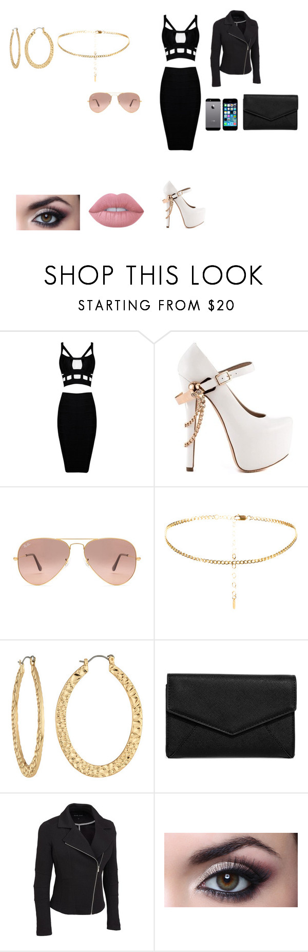 """""""Untitled #39"""" by parislollol ❤ liked on Polyvore featuring ZiGiny, Ray-Ban, Fragments, FingerPrint Jewellry, LULUS, Lime Crime and plus size clothing"""
