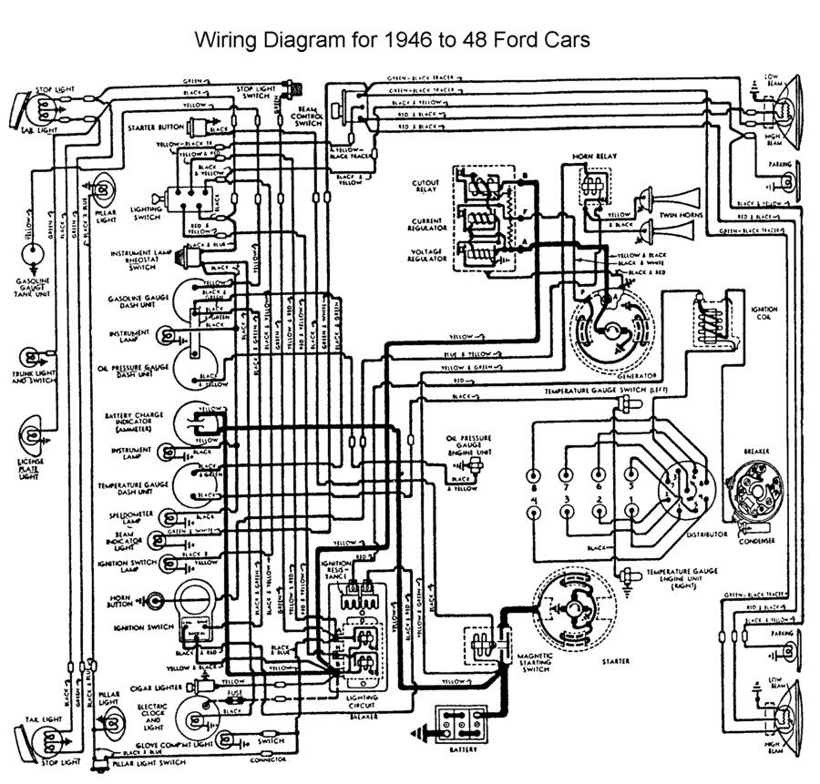 wiring for 1946 to 48 ford car wiring pinterest ford and cars rh pinterest co uk 1988 Ford Truck Wiring Diagrams 1970 Ford Truck Wiring Diagrams