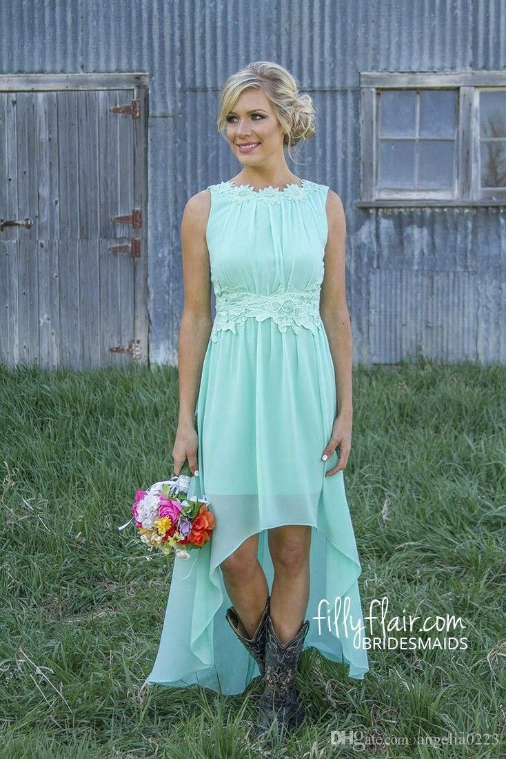 2016 Coral Hi Lo Short Bridesmaid Dresses Cheap Under 100 Modest ...