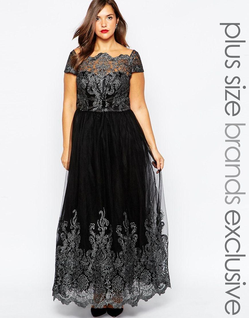 Chi chi plus chi chi london plus metallic lace cap sleeve maxi