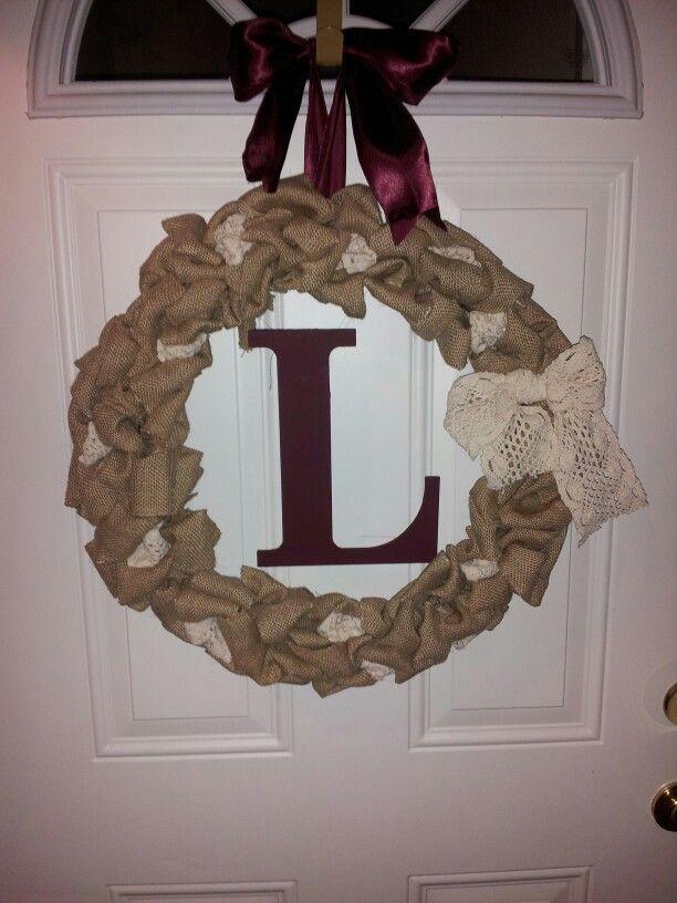 Burlap wreath made by:Jennifer Lennon