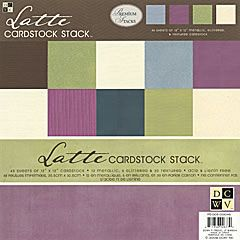 """12x12 """" - Latte Cardstock Stack  This collection of 19 chic solids, 6 with metallic shimmer, 3 with iridescent glitter, and 10 with texture, is a great way to capture everyday living.    Espresso, sage, plum and indigo make up this collection's color palette and are a stylish choice for your projects. Stack contains 48 sheets."""