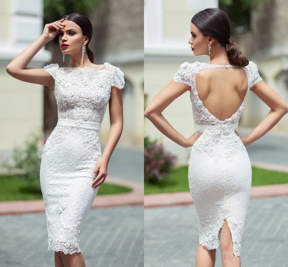 Cap Sleeve Bridal Gown Lace Wedding Short Dress Custom Size 2 4 6 8 ...