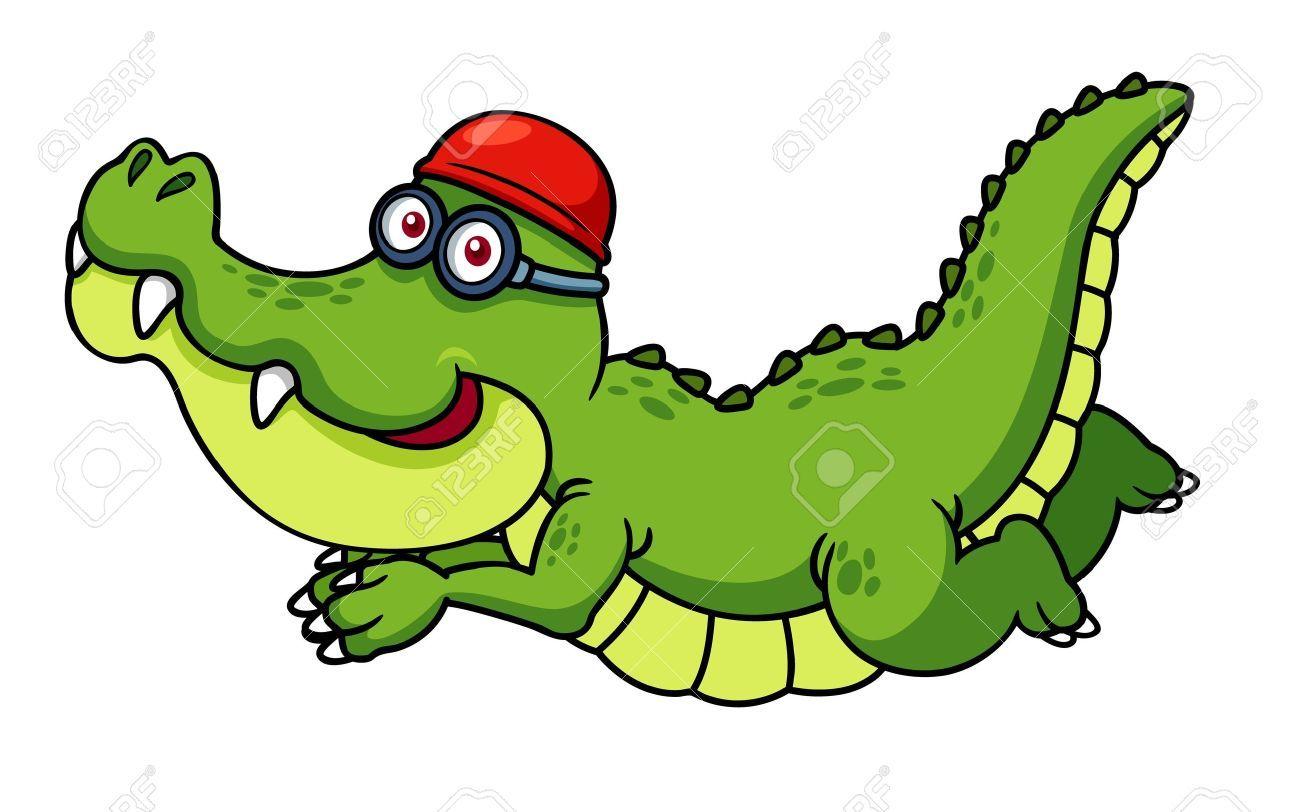 Illustration Of Cartoon Crocodile Swimming Clip Art Cartoon Illustration
