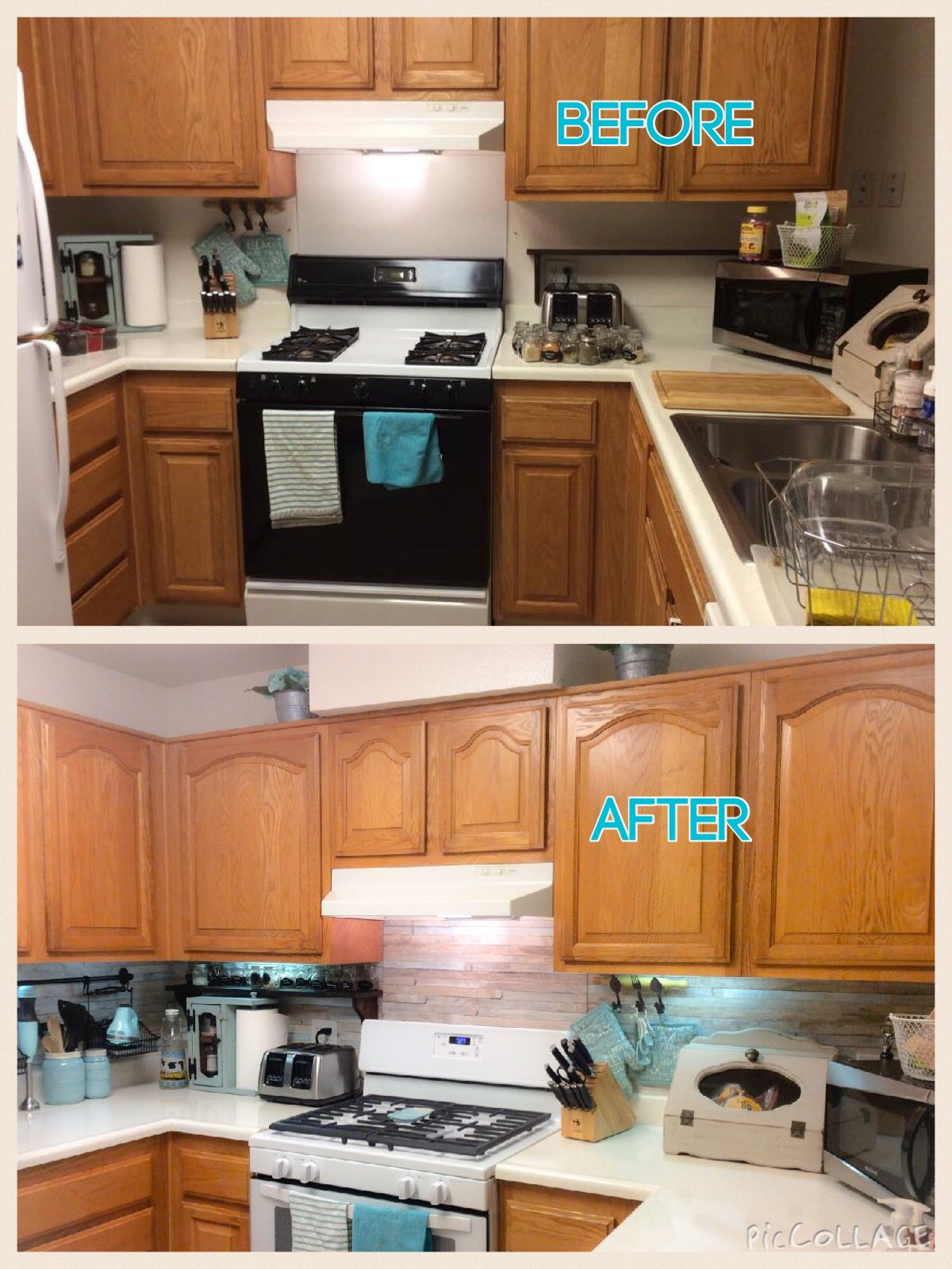 Adhesive Contact Paper Back Splash Great For Renters This Is Easy To Put Up And Won T Remove Paint You Can Buy It Paint Remover Kitchen Cabinets Home Decor