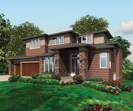Plan 69104AM Flexible Modern Home for Sloping Lot Prairie style