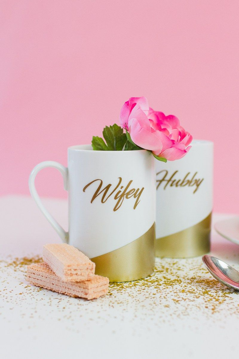 DIY WIFEY AND HUBBY MUGS! THE PERFECT HANDMADE GIFT FOR BRIDE AND ...