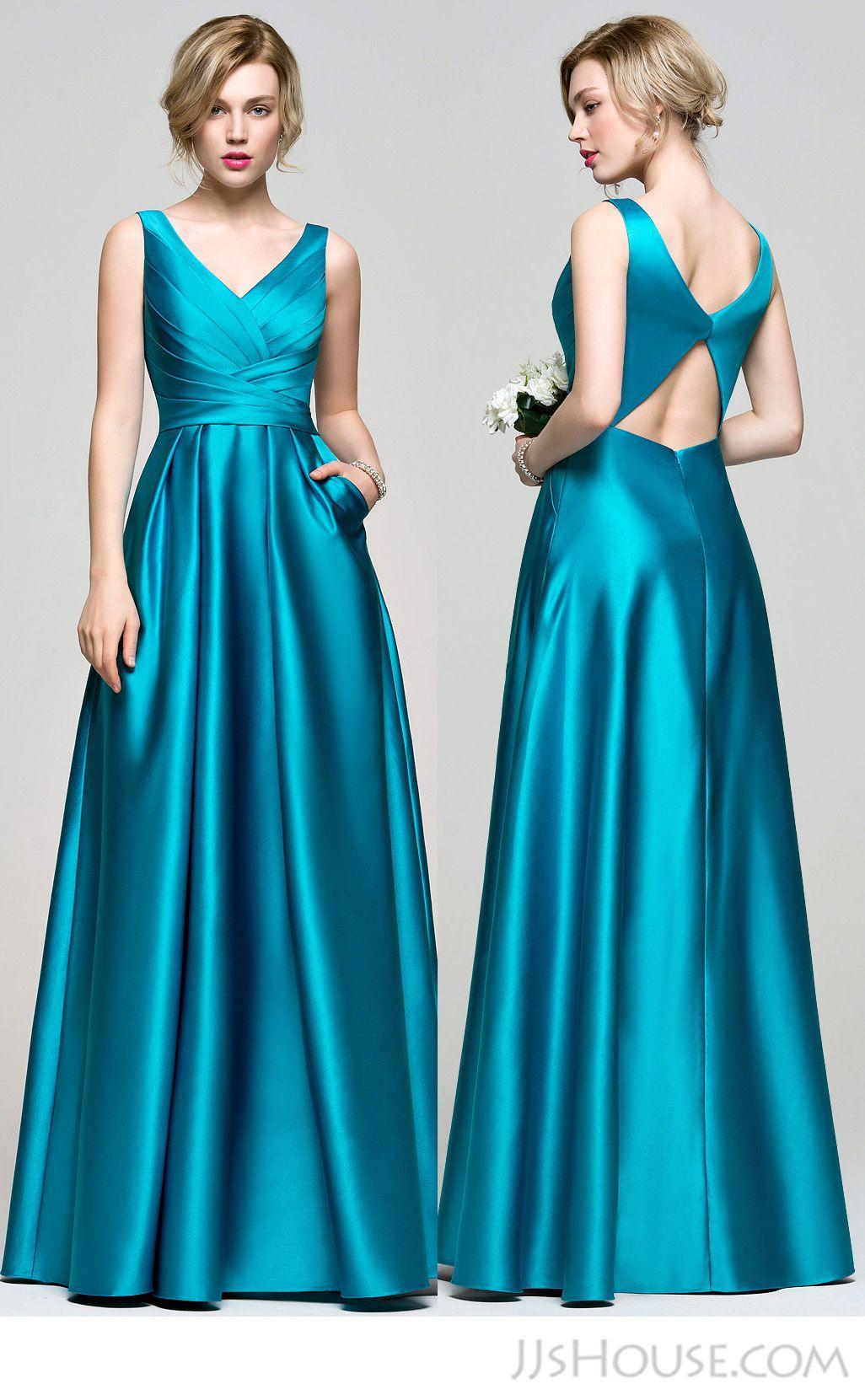 A-Line/Princess V-neck Floor-Length Satin Bridesmaid Dress With ...