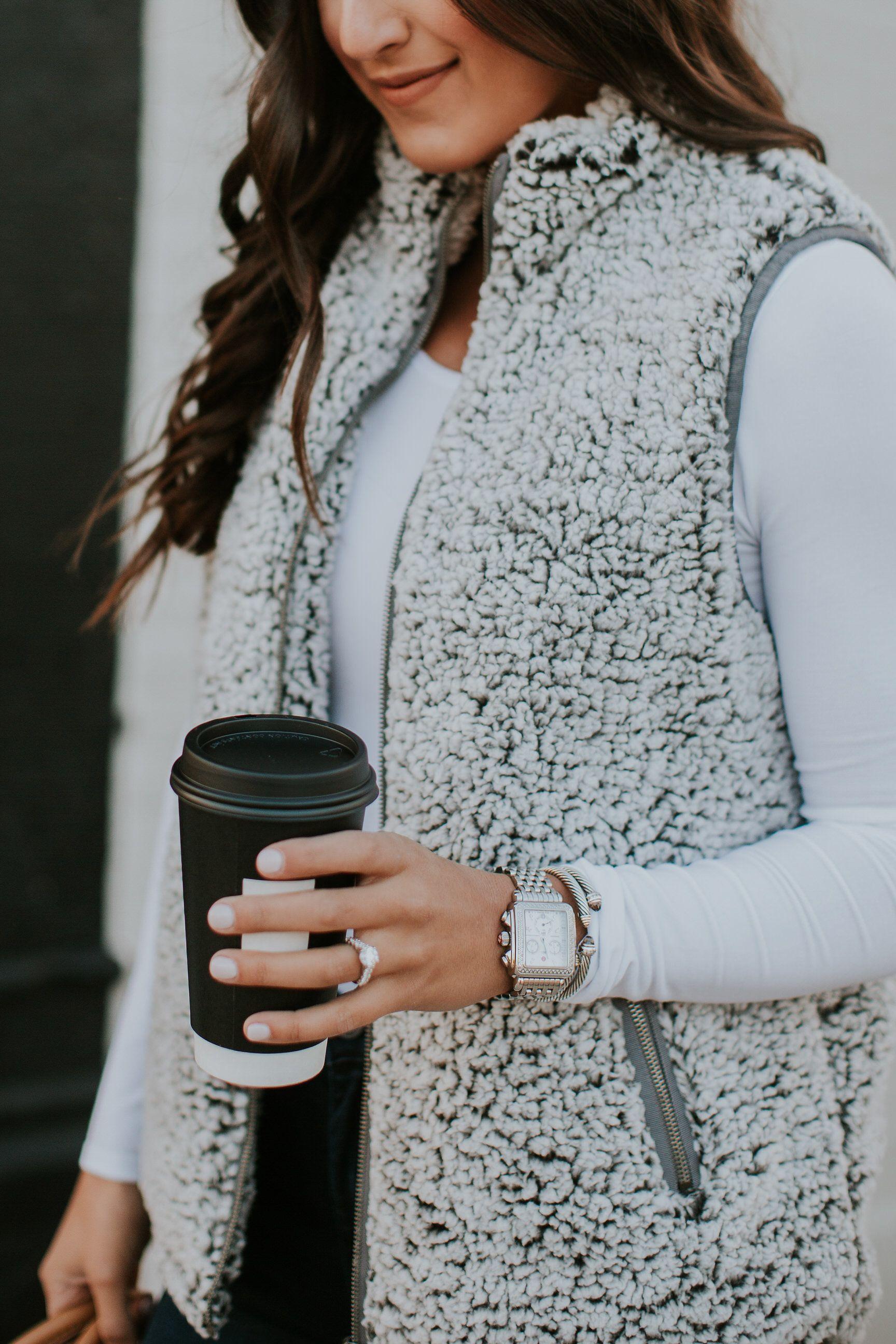 Sherpa Fleece Vest Västkläder för kvinnor, Vinterkläder  Vest outfits for women, Winter outfits