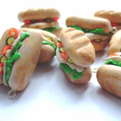 Chicken Salad Sub Sandwiches - Charms/Pendants - Set of 8 -