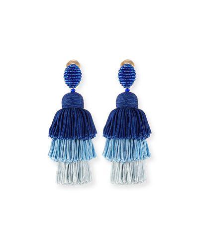 Oscar De La Renta Long Tiered Silk Tassel Clip-On Earrings ZT15rh