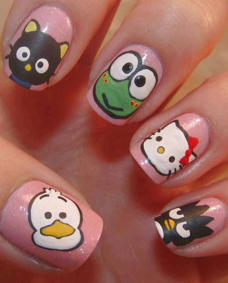 All My Favorite Cute Cartoon Characters Are Here Too Cute For Any Words Hello Kitty Nails Art Hello Kitty Nails Cute Easy Nail Designs