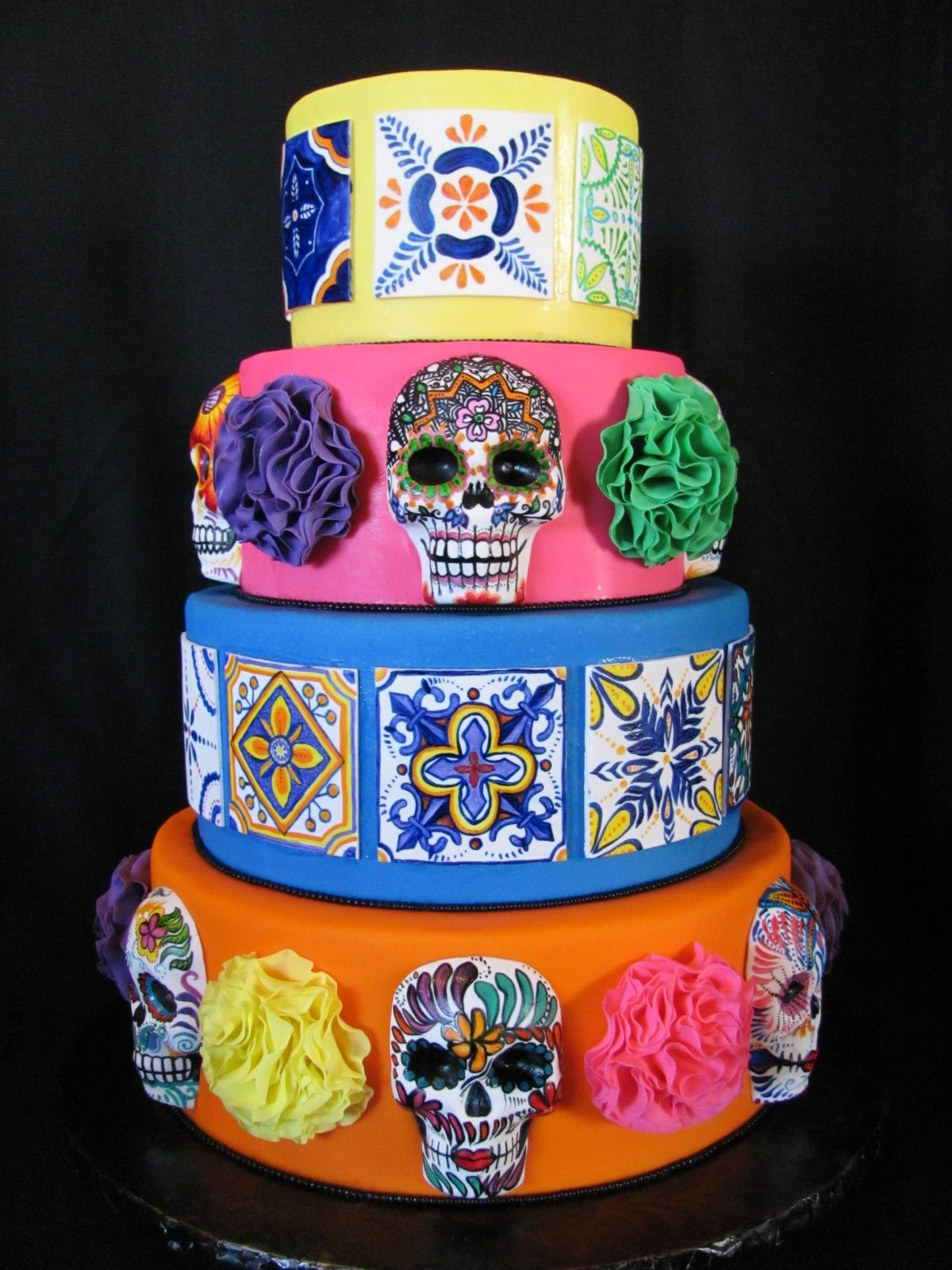Sugar Skulls Cake With Mexican Tiles Beautiful Day Of The Dead