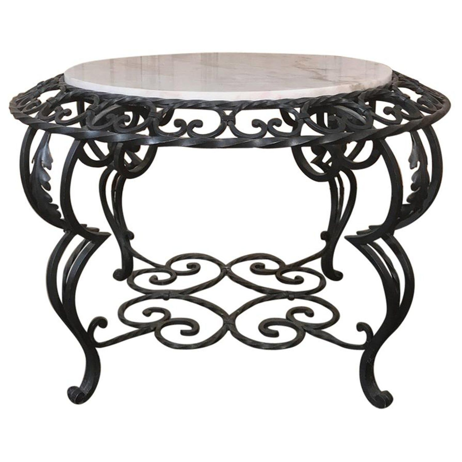 Midcentury french wrought iron marbletop coffee table in