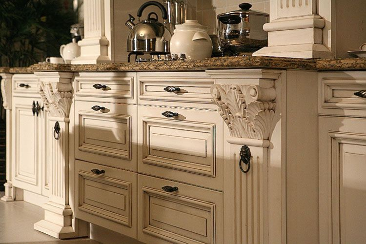 incredible cream distressed kitchen cabinets | paint and distress kitchen cabinets in cream | Distressed ...
