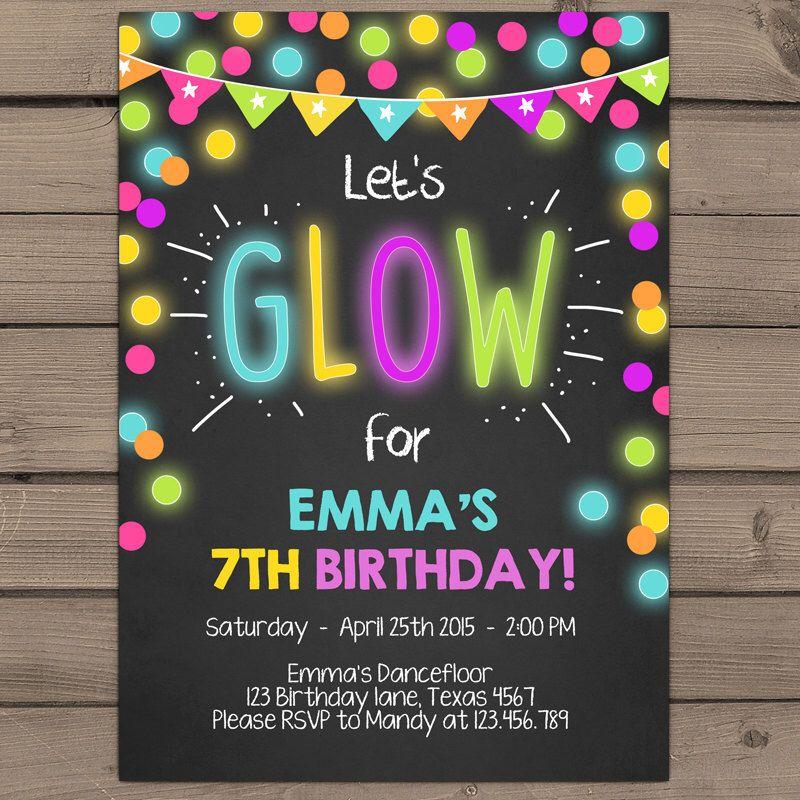 Neon Glow Party invitation Glow birthday invitation Glow in the ...