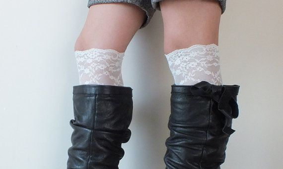 Lace Boot Cuff // Boot Socks short İvory Boot by LadyVIVIENN, $16.00