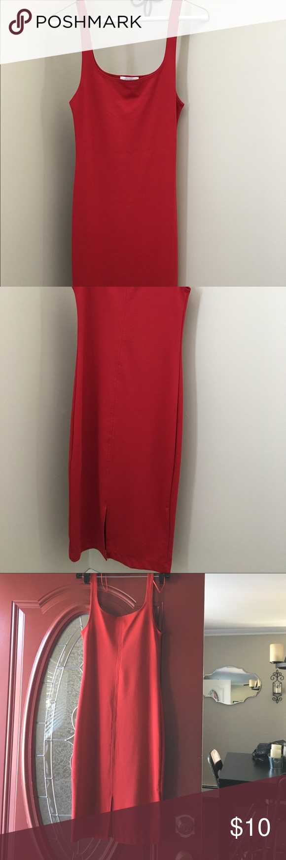 Dress red fitted tank dress never worn good condition zara