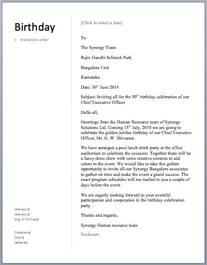 birthday invitation letter free sample