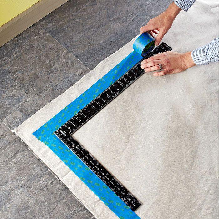 Painted Kitchen Floor Cloth: Canvas Drop Cloths, Drop Cloth