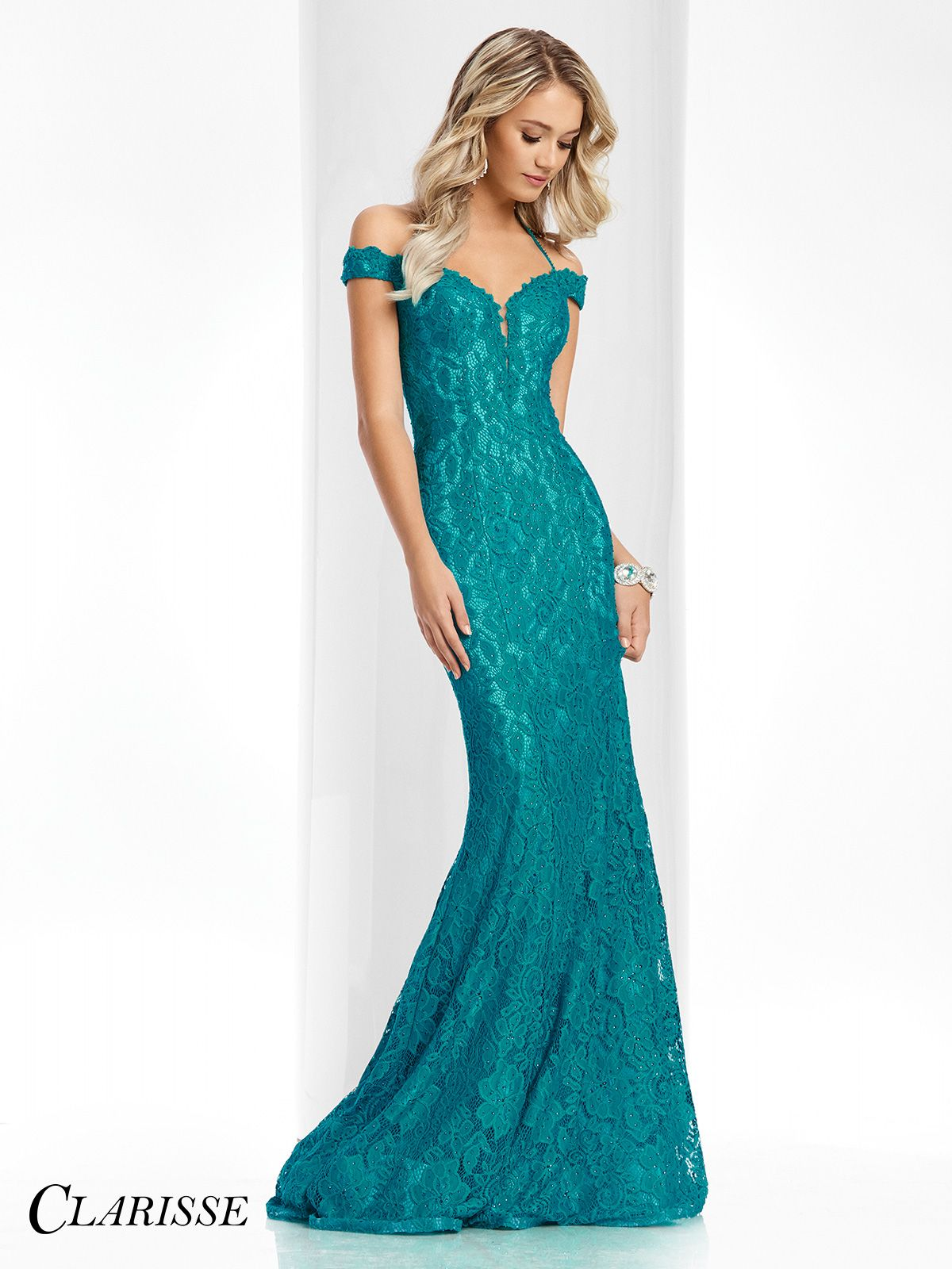 Clarisse Couture Lace Evening Gown 4801 Unique Teal Prom Dress