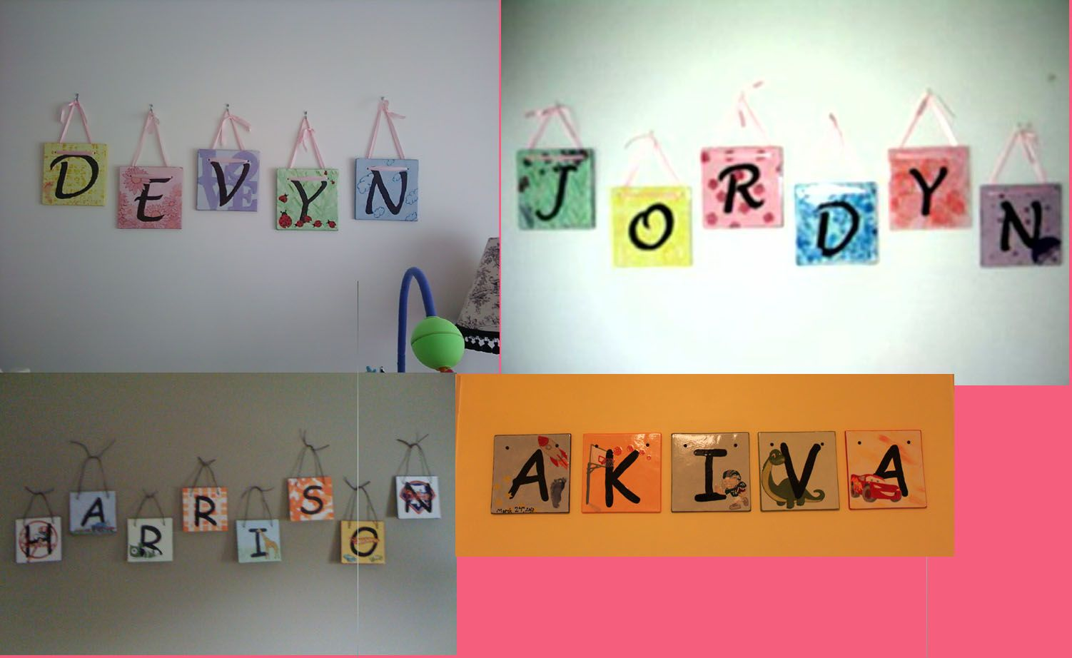 Name tiles I made for kids