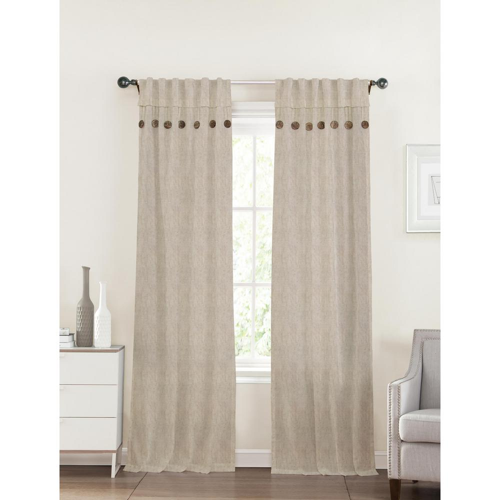 40 In X 96 In Eleanor Linen Tan Polyester Curtain