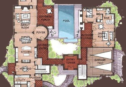 Mexican Hacienda Floor Plans  Hacienda Spanish Style Home Floor     Mexican Hacienda Floor Plans  Hacienda Spanish Style Home Floor Plans on  Hacienda Homes With Courtyard