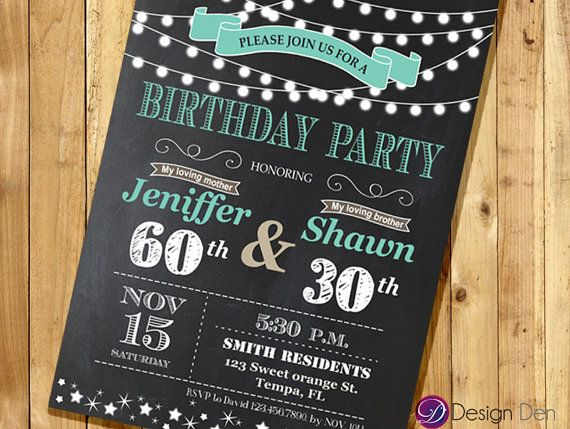 Adult Joint Birthday Invitation String light InvitationChalkboard