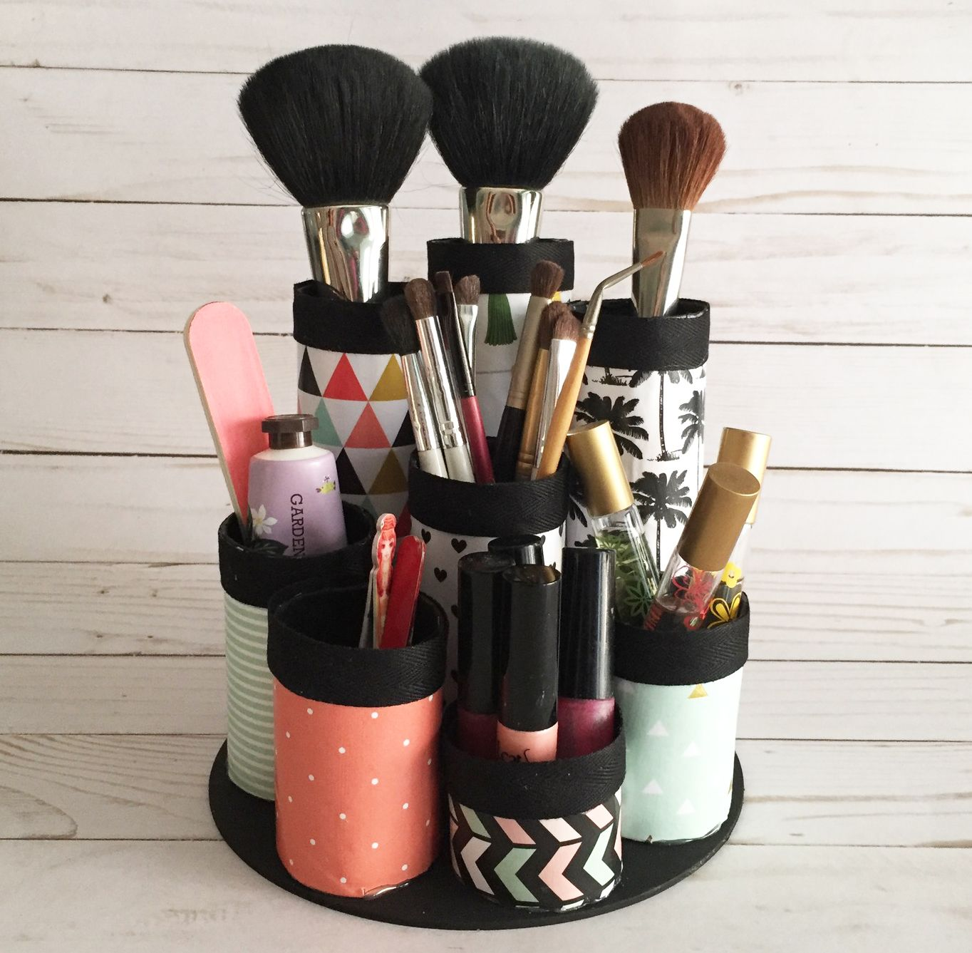 DIY Makeup Organizer. Made from recycled paper towel tubes