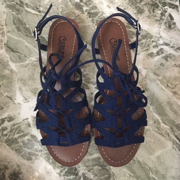Carlos santana blue kiara wedge sandal Never been worn sandals, they are true to size, and the come in their box. They have a small heel to them, they can also be untied and loosened up or tightened. Carlos Santana Shoes Sandals