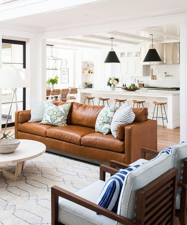 Bright And Airy Family Room With Cognac Leather Couch Farm House Living Room Couches Living Room Home