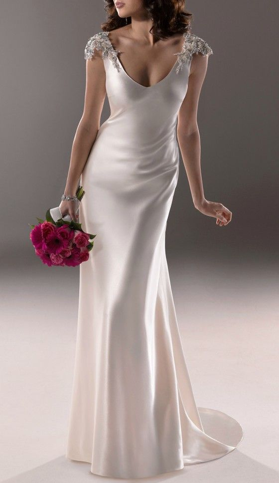 Elegant V-neck Beading Sleeves Wedding Dress for Older Brides Over ...