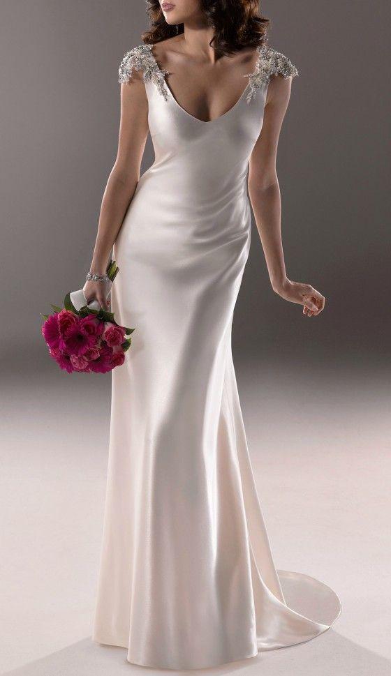 Elegant v neck beading sleeves wedding dress for older for Second wedding dresses with sleeves