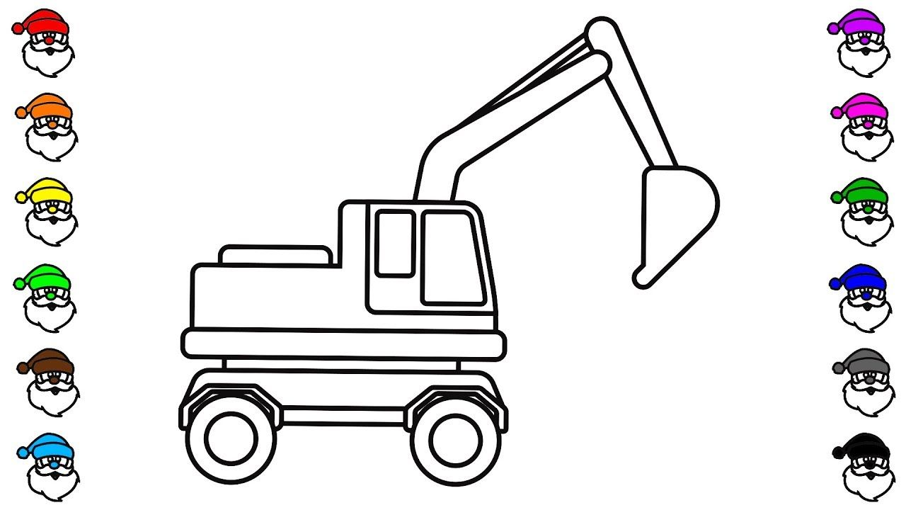 Learn Colors With Car And Excavator Truck Coloring Pages KidsTV Jacky