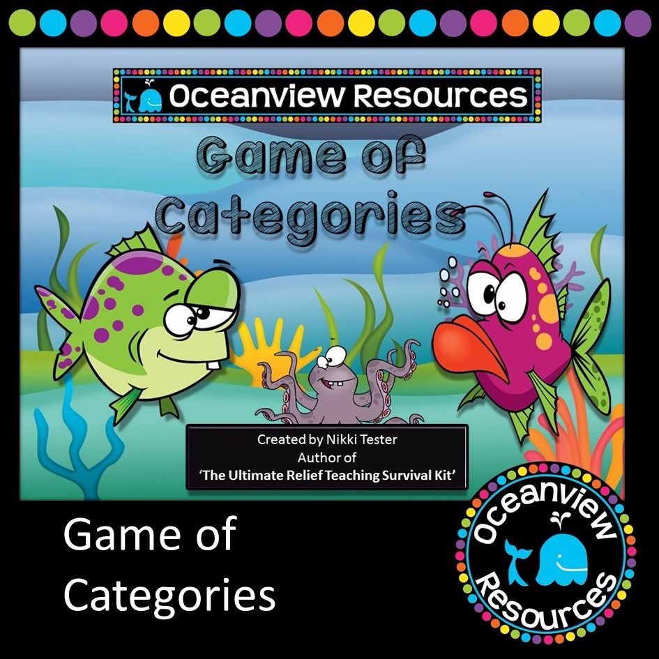 Game of Categories FREE Teaching survival, Relief