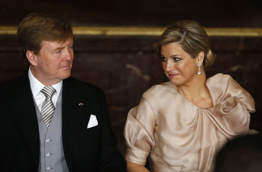 Queen Maxima smiles through tears as she become Queen Consort to her husband's King of the Netherlands 4/30/13